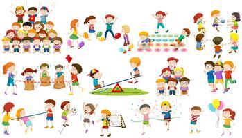 Les enfants jouent à différents types de jeux vecteur