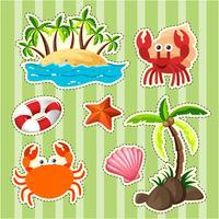Sticker design île et animaux marins vecteur
