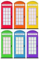 Cabines téléphoniques en six couleurs vecteur