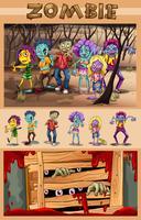 Zombies marchant dans la forêt
