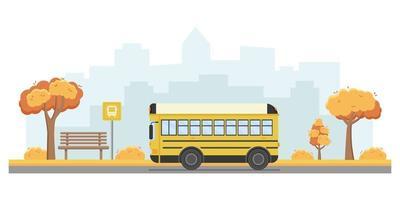 illustration vectorielle des transports publics dans la ville. vecteur