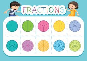 Une feuille de calcul des fractions mathématiques vecteur