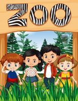 Enfants heureux au zoo vecteur