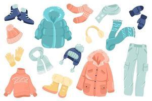 vêtements d'hiver autocollants mignons ensemble isolé vecteur