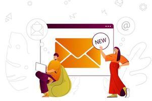 concept web de service de messagerie vecteur