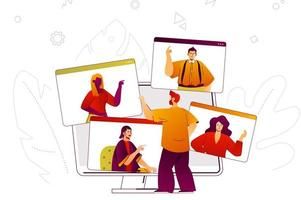 concept web de vidéoconférence vecteur