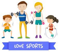 Groupe de sport famille vecteur