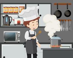Un chef italien cuisinant des pâtes vecteur