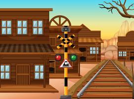 Chemin de fer dans la ville de l'ouest