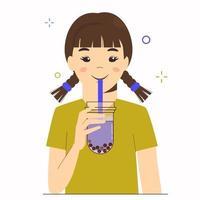 la jeune fille boit du thé au lait à bulles ou du thé au lait perlé. taïwanais vecteur