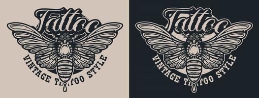 papillon d'illustrations en noir et blanc dans le style de tatouage. vecteur