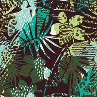 Tendance motif exotique sans soudure avec paume, imprimés animaliers et textures dessinées à la main.
