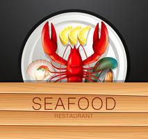 Ensemble de fruits de mer sur une plaque vecteur