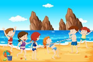 Limbo Dance sur la plage vecteur