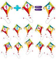 Cerfs-volants colorés et chiffres vecteur
