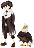 Adolescent et aigle sauvage vecteur