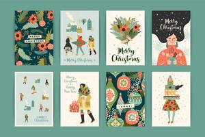 Modèles de Noël et bonne année. Style rétro branché.