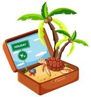 Animal de plage dans une valise