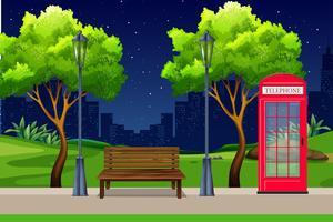 Un parc urbain la nuit vecteur