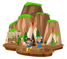 Deux indiens au camp vecteur