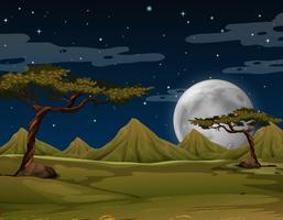 Scène avec des montagnes la nuit vecteur