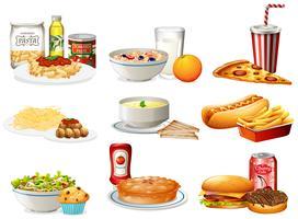 Un ensemble de nourriture américaine vecteur