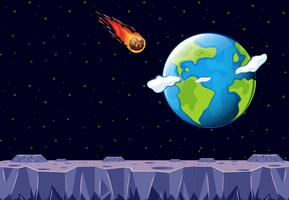 Un météore venant vers la planète Terre vecteur