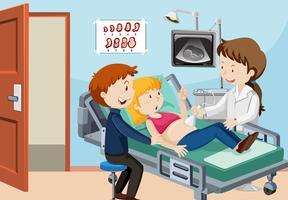 Un couple échographie à l'hôpital vecteur
