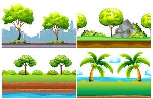 Quatre design de fond sans couture avec des arbres verts vecteur