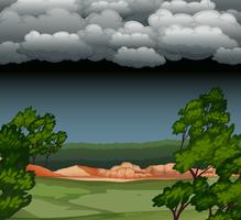 Paysage de nuit nuageux vecteur