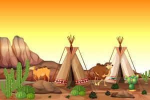 Scène de désert avec tentes et chameaux vecteur