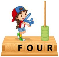 Une fille tenant le numéro quatre