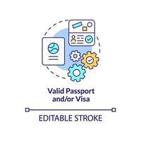 passeport valide et icône de concept de visa vecteur