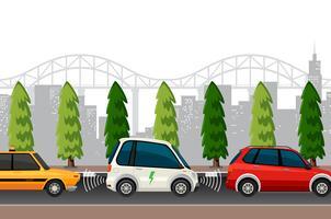 Scène de stationnement de voiture électrique vecteur
