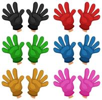 Ensemble de gants différents vecteur