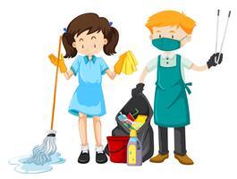 Caractère du personnel de nettoyage avec équipement vecteur