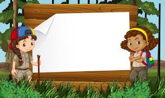 Design de frontière avec deux filles en camping vecteur