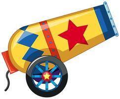 Canon de confettis de cirque rouge et jaune vecteur