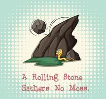 La pierre qui roule ne recueille pas de mousse vecteur