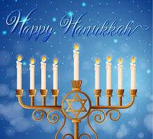 Modèle de carte Happy Hanukkah avec des chandelles vecteur