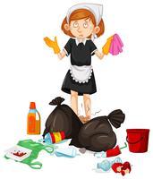 Une femme de ménage avec des ordures sales vecteur