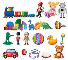 Un ensemble de jouets pour enfants vecteur