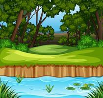 Scène de forêt et un ruisseau vecteur