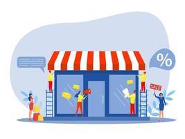 commerce de franchise, achats de personnes et démarrage d'une petite franchise vecteur