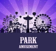 Un modèle de parc d'attractions silhouette vecteur