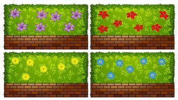 Conception de clôture avec buisson et briques