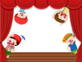 Quatre clowns sur scène vecteur
