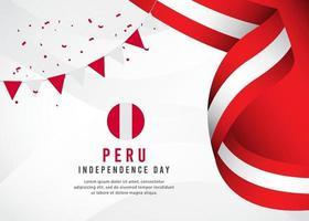 modèle de bannière de drapeau du Pérou vecteur