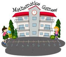 Etudiants jouant aux jeux de mathématiques vecteur