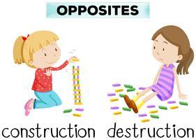 Flashcard pour la construction et la destruction de mots opposés vecteur